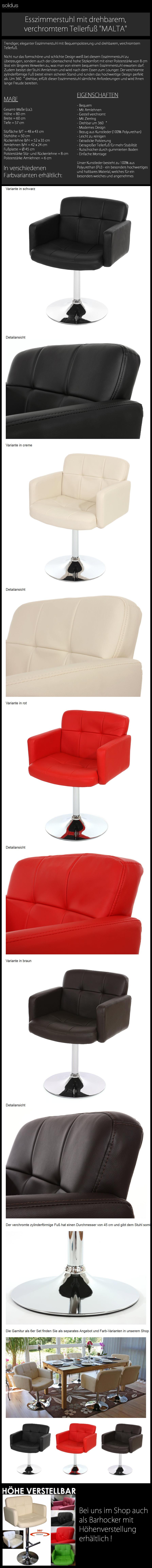 Esszimmerstuhl Drehbar Armlehnen Stuhle Stuhl Esszimmer Schwarz Rot Creme Braun Ebay
