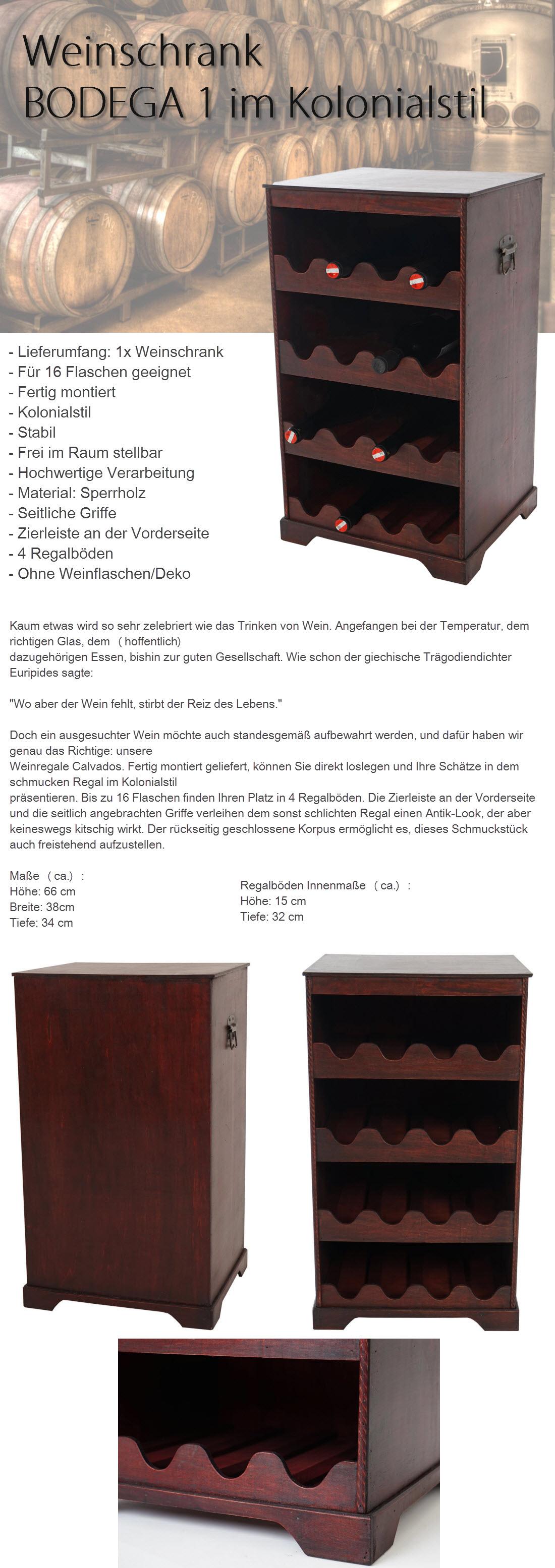 BODEGA 1 WEINSCHRANK für 16 Flaschen WEINREGAL SERVIERWAGEN HOLZ BAR ...